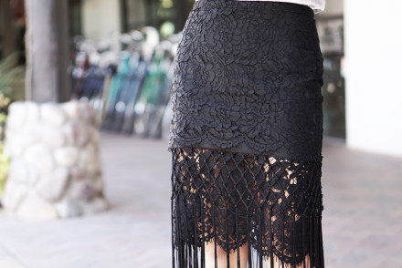 Street Style - Business Up Top, Party on the Bottom – Fringe & Lace Skirt. Outfit details on mikialamode.com  #revolveclothing #burberry #manoloblahnik