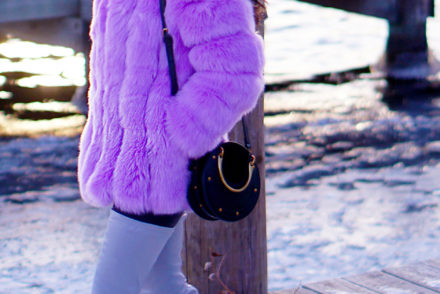 Purple Fur Coat #fashionblog #styleblog #fashiontips #winterfashion #winterlayers #thighboots #streetstyle #runwaystyle #fashionweek #coloredfur #fauxfur #furcoat #fashionblogger #lifestyletips #lifestyleblogger #affordablecoats #affordablefashion #highstreetcoat #purplefur #purplecoat