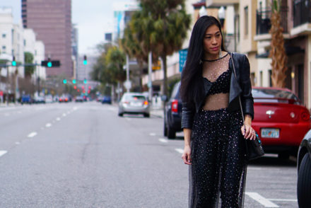 Sheer Dress Street Style Fashion Inspiration #streetstyle #fashionblogger #ootd #fashionweek #valentinorockstud #meshdress #sheerdress