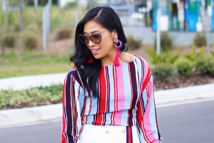 Romantic and Adventurous Date Ideas - stripe trend, street style, fashion blogger, gucci inspired, gucci style skirt, miu miu, miu miu sunglasses, kitten heels, outfit ideas, outfit inspiration, stylish outfit, style ideas, summer style, stripe blouse, stripe top, outfit inspiration